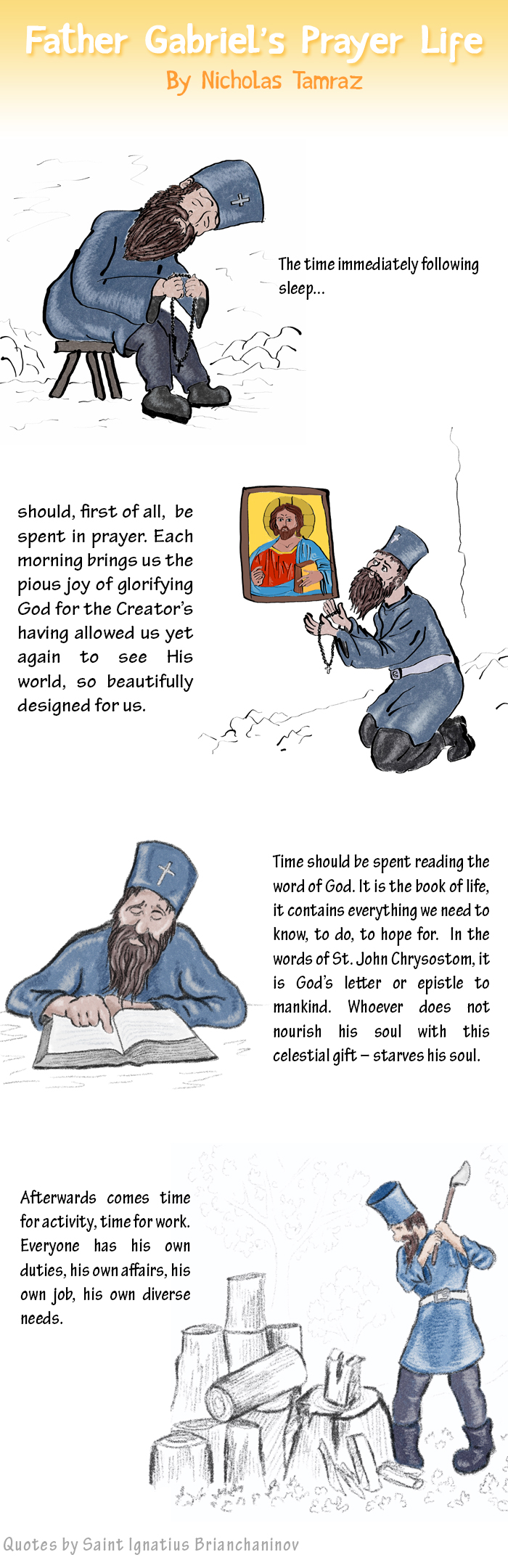 Father Gabriel's Prayer Life web comic with quotes by Saint Ignatius Brianchaninov